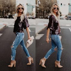 #fall #outfits glittery shirt ripped jeans heels