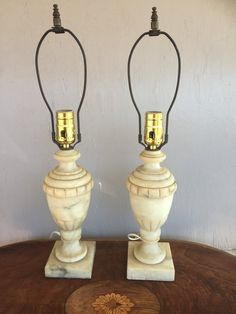 Pair of neoclassical alabaster lamps. Interior design
