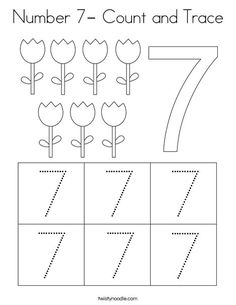 Number Count and Trace Coloring Page - Twisty Noodle Preschool Number Worksheets, Alphabet Tracing Worksheets, Numbers Preschool, Tracing Letters, Learning Numbers, Kindergarten Worksheets, Kindergarten Learning, Preschool Learning Activities, Free Preschool