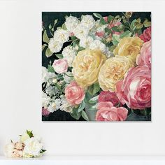Artissimo Designs Antique Roses on Black Canvas Wall Art, Multicolor