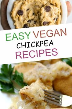 When you are looking for vegan chickpea recipes, this list has amazing breakfast, lunch, dinner, dessert, and snack ideas are exactly what you need! Vegan Chickpea Recipes, Vegan Chickpea Curry, Vegetarian Desserts, Best Vegan Recipes, Vegan Snacks, Easy Snacks, Healthy Snacks, Healthy Recipes, Vegan Chicken Noodle Soup