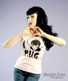 I ♥ PUG Pink Tee - Art by Micheline Pitt - Do you love Pinup Girl??  Show the world!  Art by Micheline Pitt on this adorable scoop neck tee!