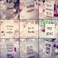 Table names for wedding reception: song titles! When the song is played, that table has to get up to dance!
