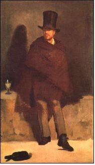에두아르 마네(Edouard Manet)-압생트를 마시는 남자(The Absinthe Drinker),1859 : 압생트 한잔은 정갈하게 놓여있지만 남자는 조금 삐딱하니 거적데기를 두르고 있고 아래에 버려진 술병은 전혀 그렇지 못하다. 겉으로는 멀쩡한 척, 괜찮은 척 하지만 속으로는 전혀 그렇지 못한 남자의 약한 면모를 보는 듯하다.