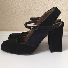 "Marni Suede Pumps Marni Suede Pumps come in black and navy blue suede with a closed toe and sling back 4"" heel and buckle heel. Shoe Size 39 1/2 but fits a US 8 runs small. Heel to Toe: 10 1/8"" Width: 3"" Heel Height: 4"". Made in Italy. Like new condition hardly worn. Marni Shoes Heels"