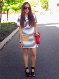 @roressclothes closet ideas #women fashion outfit #clothing style apparel white striped Maternity Dress
