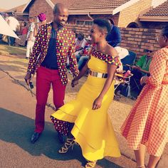 Traditional wedding.  African print.