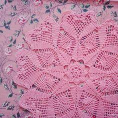 Pink crochet doily with hearts. #crochet #pink #home #homedecor #handmadebag #doily #heart #etsy