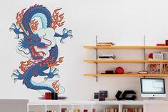Adesivo Dragão Chinês Azul