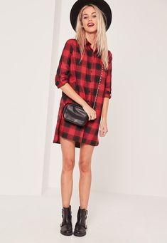 Missguided - Red Twill Check Shirt Dress