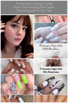 This Rhinestone Makeup Tutorial Proves There S Nothing More Festive Than Gluing Stuff To Your Face Rhinestone Makeup, Rhinestone Jewelry, Tomorrow Is A New Day, Craft Markets, Faceted Glass, Coffin Nails, Rhinestones, Festive, Swarovski