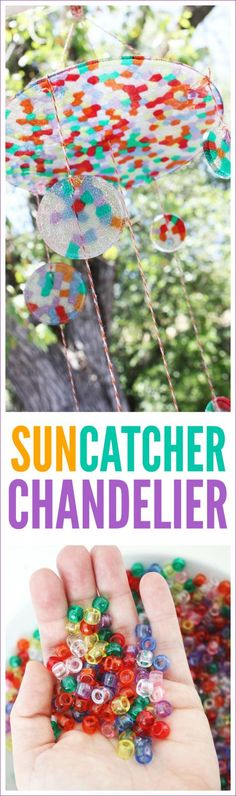 Suncatcher chandelier DIY made with melted pony beads on the grill. These are great for summer party decor or a summer birthday party craft. | CatchMyParty.com