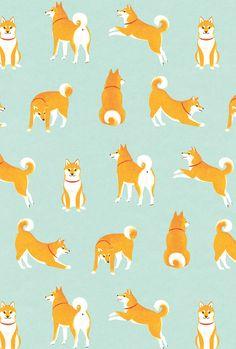 shiba inu (dogs) ©️️ shino All rights reserved. Shiba Inu, Dog Wallpaper Iphone, Wallpaper Backgrounds, Corgi Wallpaper, Posca Art, Motifs Animal, Art And Illustration, Pattern Illustrations, Dog Art