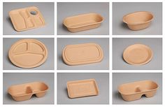 Compostable food containers with natural fibers from bamboo, sugarcane pulp, starch and water. No chemical additives.