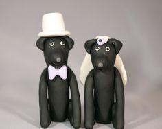 Black Lab Labrador Retriever Dog Wedding Cake Topper. $35.00, via Etsy.
