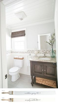New England Farmhouse Neutral Paint Color Scheme | Read the color story of this New England Farmhouse and how to discover the perfect neutrals. #farmhouse #farmhousedecor #farmhousestyle #restroom #bathroomupdate
