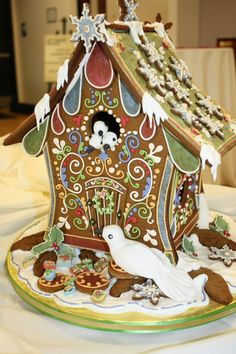 The 1st place entry in the Gingerbread House Celebration presented by Christmas Haus: Mary Elliott of Timonium, MD who defended her title from last year with this exquisite birdhouse-style entry. The Gettysburg Hotel awarded the top prize of $500 to her!