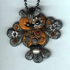 Steampunk Hooty Owl Necklace Polymer Clay Jewelry by Freeheart1, $32.00