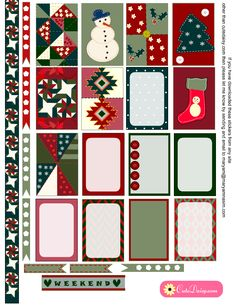 FREE Printable Quilt inspired Christmas Stickers Kit for Happy Planner BY Cute Daisy