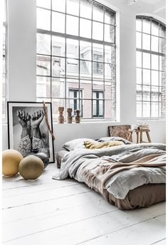 Bed on the floor, luxe style.