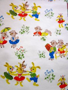 Vintage 1950s Wallpaper  Easter Bunnies and lambs by Pommedejour, $10.00