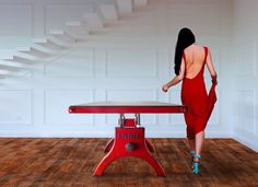 Hure Table in aged red by Vintage Industrial Furniture