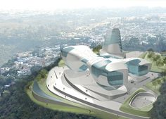 Asymptote's design for a new Guggenheim Museum in Guadalajara, Mexico projects an iconic architectural presence on a spectacular site. The four sculptural corner building volumes that rise up from the ground plane and. Concept Architecture, Futuristic Architecture, Architecture Design, Bilbao, Futuristic City, Building Structure, Exhibition Space, Urban, Buildings