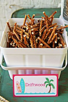 Driftwood pretzels from a Hawaiian Luau Birthday Party on Kara's Party Ideas | KarasPartyIdeas.com (7)