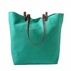 Linen And Leather Tote Turquoise.