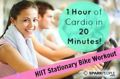 Too cold to exercise outdoors? Try this super efficient cardio workout for the stationary bike! | via @SparkPeople #fitness #spinning #cycle