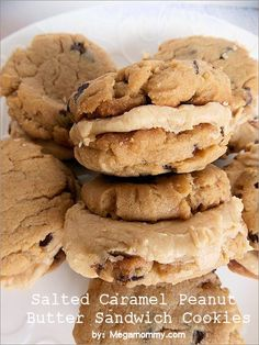 Salted Caramel Peanut Butter Sandwich Cookies | Megamommy.com