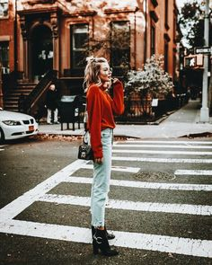 red sweater, distressed denim, black boots, street style, ootd, outfit ideas, fall fashion, blogger outfits