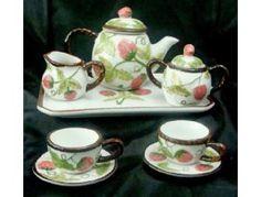miniture strawberry china | Mini Strawberry Theme China Tea Set