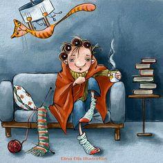 """*Elina Ellis"""" knitting comfortably"""