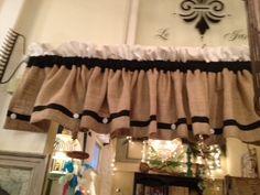 Black White and Burlap curtain on a Rake