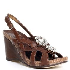 Light up your life with this luscious leather wedge from Apepazza. A brown leather upper features weaved details on the sides with a thong design and stone embellished vamp with a 1/2 inch cork platform and a covered 2 3/4 inch heel. http://www.amazon.com/dp/B000YM6LZ2/?tag=icypnt-20