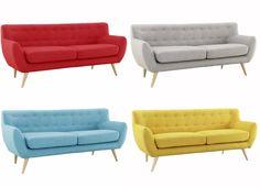$500 Mid-Century Modern Love Seat Living Room Furniture- Red, Grey, Blue, Yellow #CAM #Modern