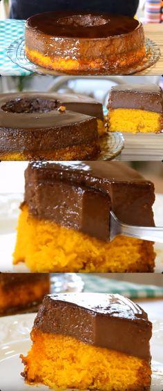 BOLO DE CENOURA COM PUDIM DE CHOCOLATE  #bolo #bolodecenoura#comida #culinaria #gastromina #receita #receitas #receitafacil #chef #receitasfaceis #receitasrapidas