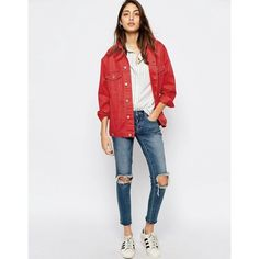 ASOS Denim Girlfriend Jacket In Washed Red ($37) ❤ liked on Polyvore featuring outerwear, jackets, tall denim jacket, asos jackets, denim jacket, tall jackets and red jacket