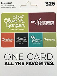 Darden Restaurants Gift Card 25 Cards
