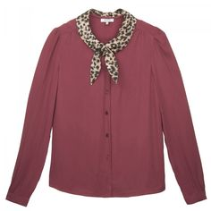 AUBE - Long sleeve blouse, buttoned front with contrast shawl collar and knotted.