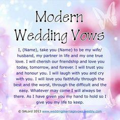 Modern Marriage Wedding Vows - Sample Vow Examples - New Ideas Modern Wedding Vows, Wedding Vows Examples, Best Wedding Vows, Funny Wedding Vows, Wedding Quotes, Wedding Humor, Wedding Speeches, Wedding Ideas, Trendy Wedding