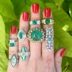 How do you like your #emeralds? #Vintage #emerald and #diamond #rings in #gold and platinum, #ArtDeco #Retro and modern styles, big and chunky or sleek simple?  #CraigEvanSmall #vintagejewelry #vintagering #diamonds #ring #engagement ring