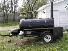 This is the building process that friends and I used to build a 250 gallon reverse flow smoker and put it on a trailer. My friends, Charlie . Bbq Smoker Trailer, Bbq Pit Smoker, Pit Bbq, Bbq Grill, Custom Bbq Smokers, Custom Bbq Pits, Smoker Designs, Barrel Stove, Propane Smokers