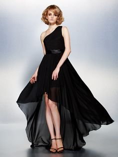 Dress+-+Black+Plus+Sizes+/+Petite+A-line+One+Shoulder+Asymmetrical+Chiffon+-+AUD+$157.29