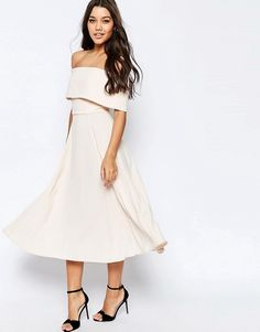 ASOS   ASOS Soft Off The Shoulder Bardot Midi Prom Dress
