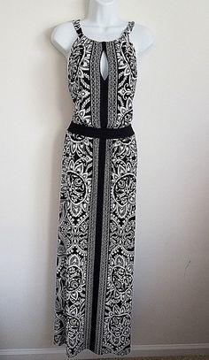 BLACK WHITE FLORAL LONG MAXI DRESS SLEEVELESS SUSPENDED NECK KEYHOLE FRONT LARGE #WhiteHouseBlackMarket #Maxi