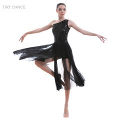 fb4e0ff0d8 US $31.35 5% OFF|One Shoulder Black Sequin Lace Bodice with Long Black Mesh  Dress Ballet & Lyrical & Contemporary Dancing Dress Show Costume17313-in  Ballet ...