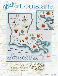 Louisiana Map: A Cross Stitch Chart by Sue Hillis Designs Embroidery Applique, Cross Stitch Embroidery, Cross Stitch Patterns, Embroidery Ideas, Louisiana Map, Louisiana History, State Crafts, Cross Stitch Landscape, Diy Arts And Crafts