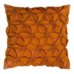 Rizzy Home Applique Felt Leaves Throw Pillow, Orange